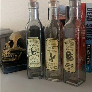 3 Halloween Apothecary Glass Bottles
